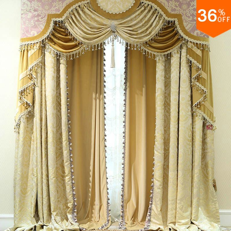 2016 Golden Shutters With Valance Beads The Classical Curtains For Windows Extreme Luxury Drapes