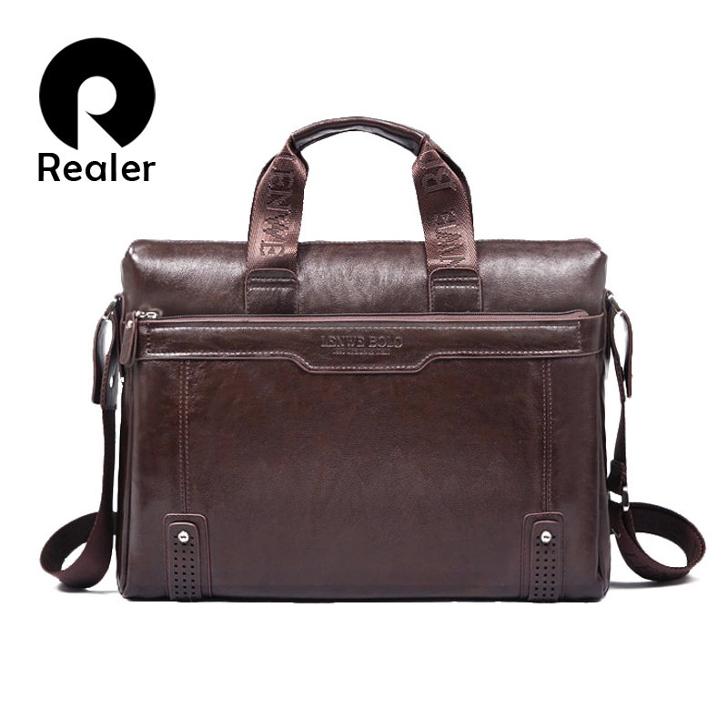 New 2015 men leather briefcase computer Laptop Bag brands Business handbag Men's Travel Bags Retro Briefcase brown black(China (Mainland))