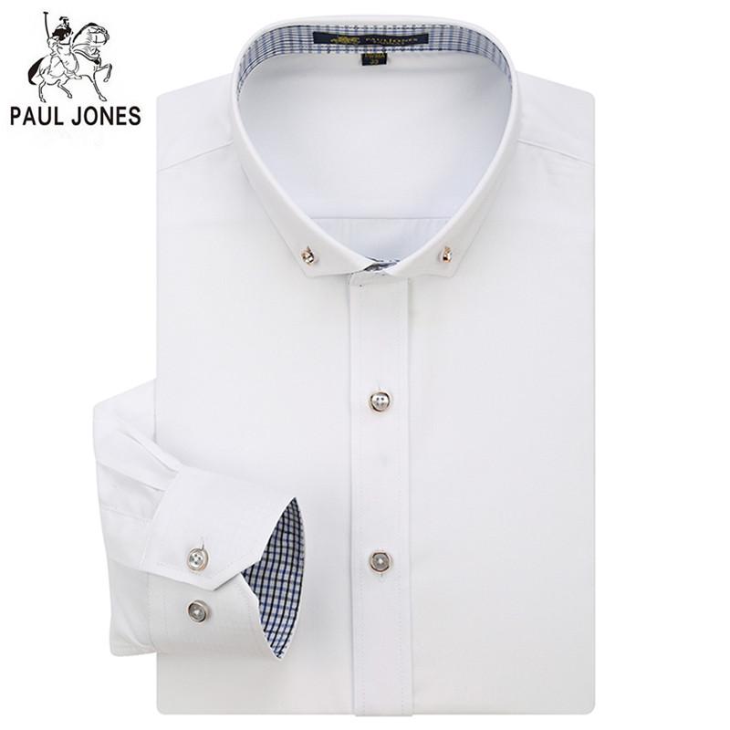 Men shirt long sleeve slim fit cotton white dress shirt for Non wrinkle dress shirts