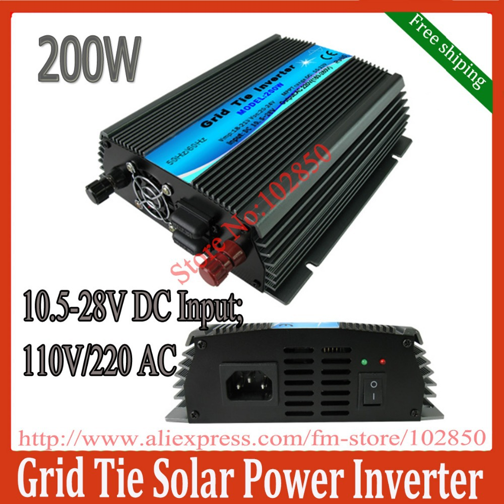 200w grid tie solar inverter pure sine wave power inverter 10.5-28V DC input,120V /230VAC output, MPPT function,free shipping(China (Mainland))