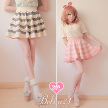 Buy Princess Sweet lolita skirt Bobon21 Soft amo pink beige white lace decoration print summer ball gown little mini skirts b0781 for $27.25 in AliExpress store