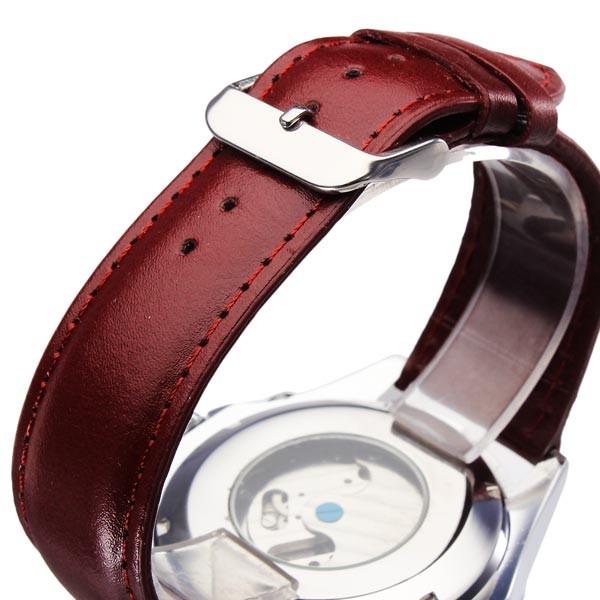 Jaragar бренд класса люкс автоматическая механическая турбийон искусственная кожа красный мужские наручные часы календарь мужские часы 2016 новая бесплатная доставка