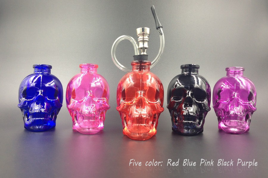 mini Hot Top Five color glass skull style hookah shisha narguile smoking pipe Complete set