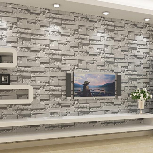tapeten wohnzimmer stein: tapeten braun wandgestaltung. backstein ...
