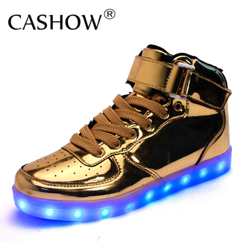 CASHOW Hot Sale Golden Silver Big Size 46 Led Shoes Men Women Glowing Cool Lighted Flat Shoes High-top Light up Boots for Adults