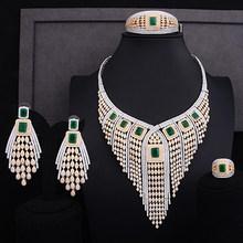 GODKI 119mm Lange Quaste Drop Luxus Frauen Braut Zirkonia Ring Armreif Halskette Ohrring Dubai Schmuck-Set Schmuck Addict(China)