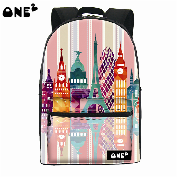 ONE2 Design cartoon city pink polyester school bag laptop backpack teenager boys girls women man college university students(China (Mainland))