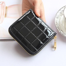 Buy Patent Leather Women Short Wallets Ladies Small Plaid Wallet Zipper Coin Purse Female Credit Card Wallet Purses Money Bag 30 for $3.00 in AliExpress store