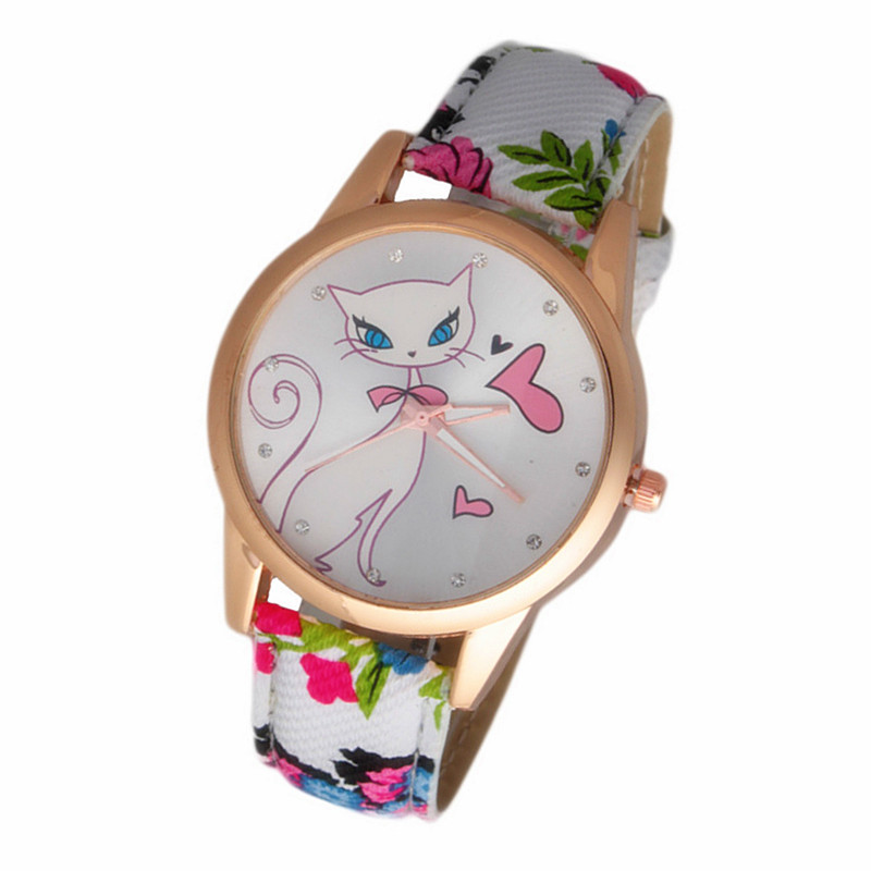 New Fashion Cute watches Women and Children Favor cat Cartoon watches Casual quartz wristWatches For Your LOVERS Gift wk0692-3(China (Mainland))