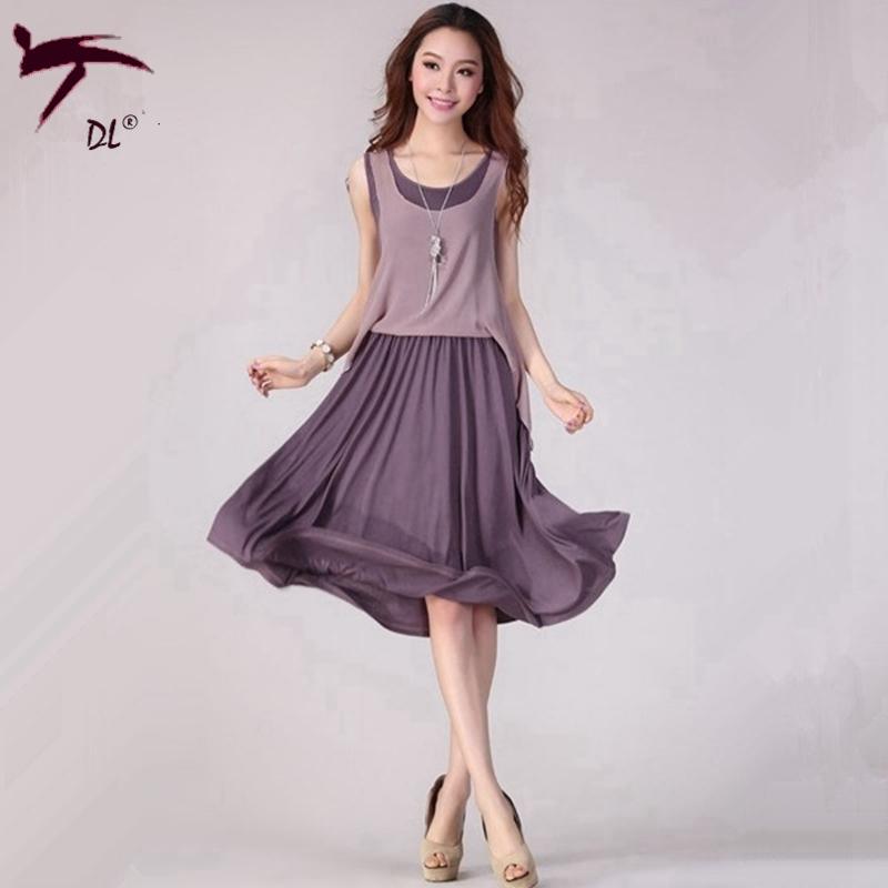 4 Color Summer Style Chiffon Dress Fashion Summer Dress 2015 Elegant Office Dress Frill Midi