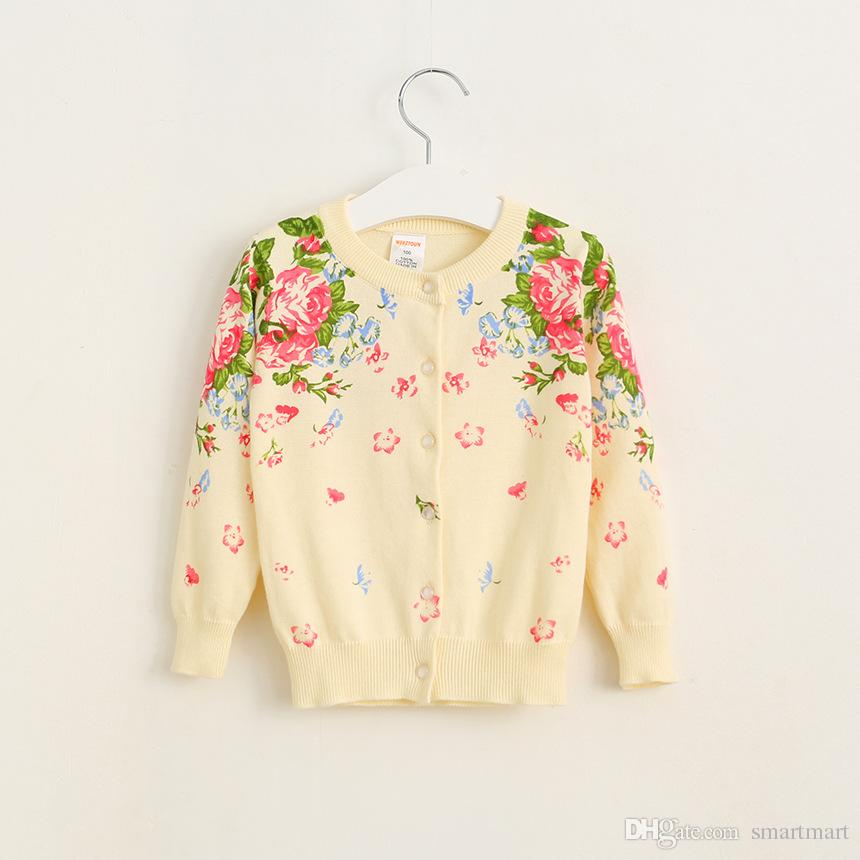 New Arrival Kids Girls Floral Knitted Cardigans Buttons Design Orange and Pink Color Fall Winter Sweater Jackets