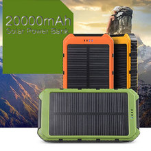100% brand new 20000mAh Portable Waterproof Solar Charger Dual USB External Battery Power Bank carregador de bateria portatil(China (Mainland))