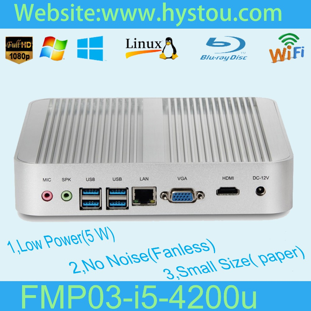 Fanless Home Theater Mini PC USB3.0 Desktop Computers 4G RAM DDR3 256G SSD Win 7 Intel Core i5(China (Mainland))