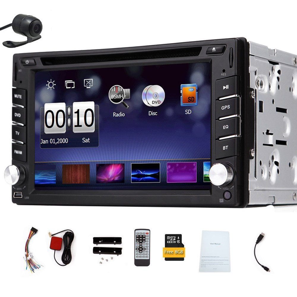 2016 double din Car DVD Player 6.2-inch 2 DIN Gps Navigation for Universal Car Stereo GPS Antenna Free Backup Camera& Map Card(China (Mainland))