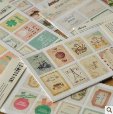 8 bags/lot (128 pcs) DIY Vintage Retro Classic Stamp Sticker Flowers Birds Scrapbook Paper For Decoration Free shipping 519(China (Mainland))