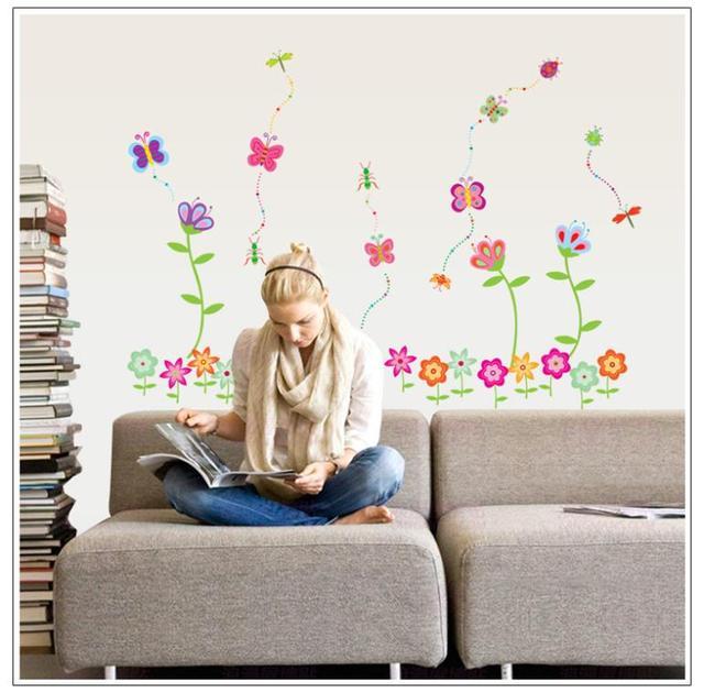Комикс бабочка цветок дети комната для девочки спальня стена наклейки пвх окружающей среды наклейки 7042