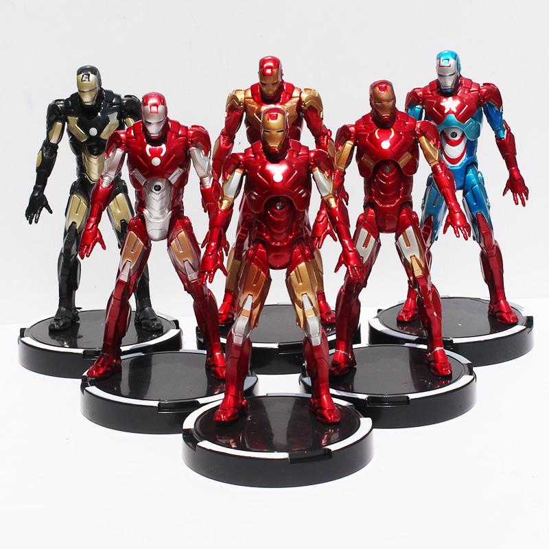 22cm Marvel Avengers Iron Man PVC LED Light & Action Figure Collection Toy Model Classic