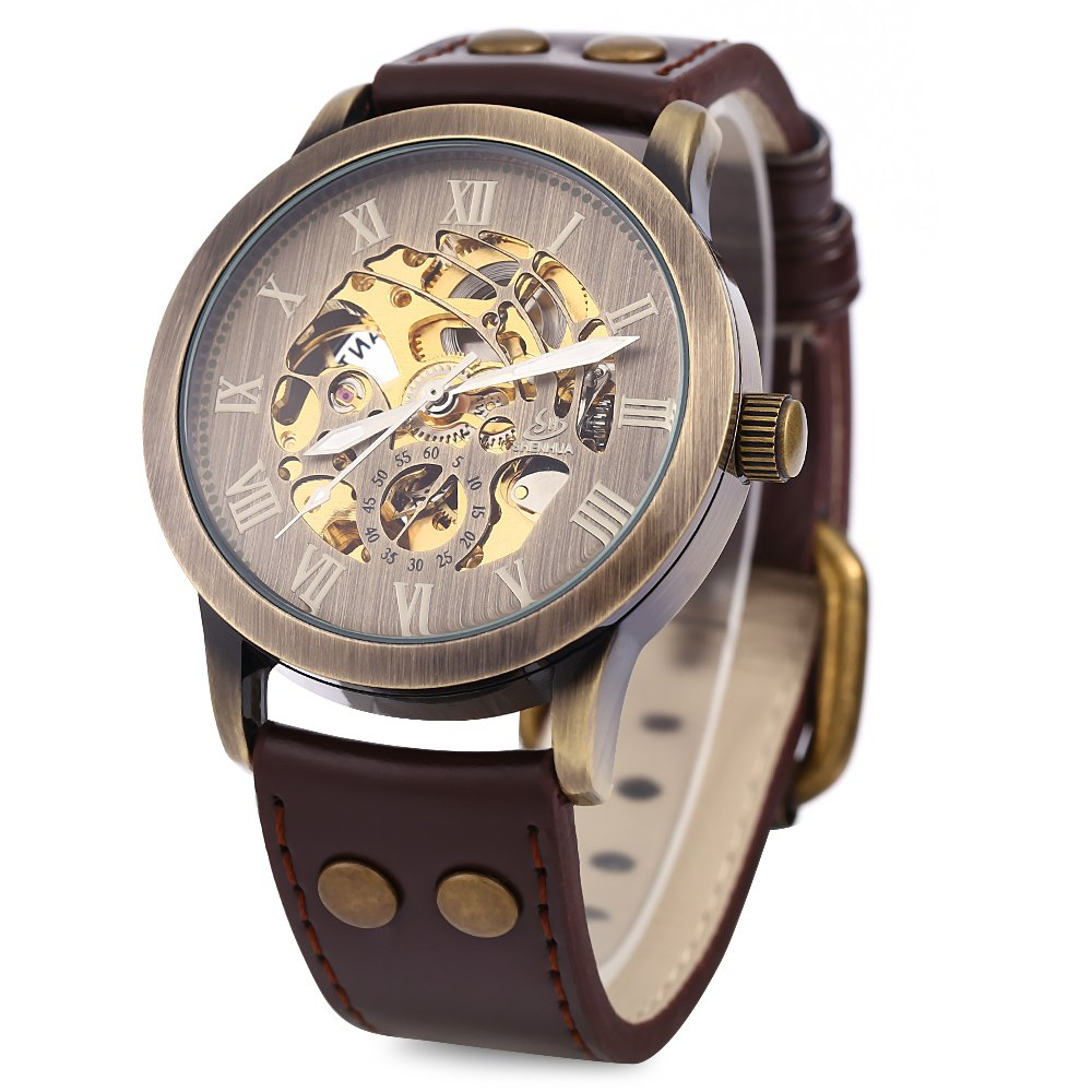 2016 New Fashion Male Hollow Out Dress Watch Luxury Business Wristwatches Steampunk Mechanical Watch Round Dial Leather Band<br><br>Aliexpress