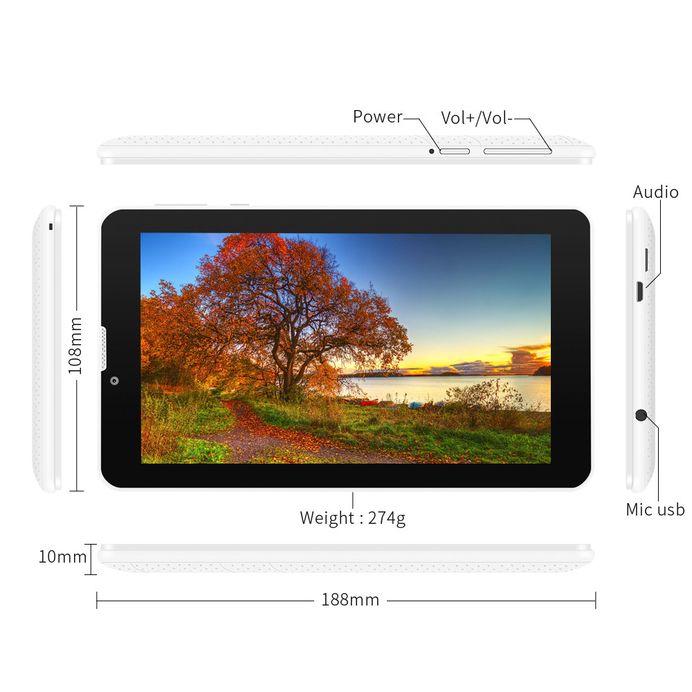 "7"" E706 Yuntab GPS Double Mini SIM Card 1.2GHz Quad Core Cortex A7 IPS Dual Camera 1GB Add 8GB Phone Call Tablet PC"