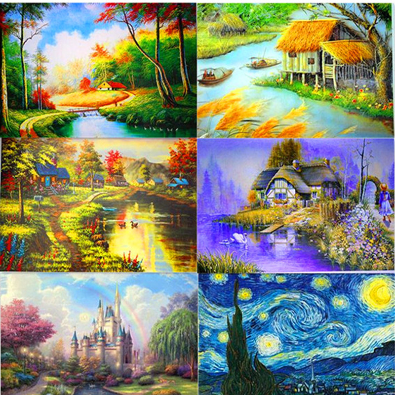 Hot Sale 1000 pieces of paper jigsaw variety of Landscape Castle puzzle toy adult children education toy Christmas gifts P014(China (Mainland))