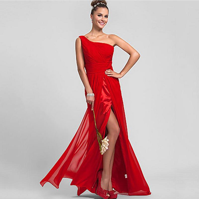 Floor length red long beach chiffon bridesmaid dresses for Plus size one shoulder wedding dress
