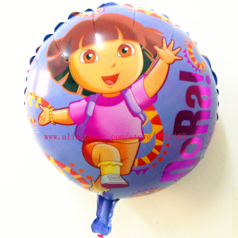 Lucky 10pcs/lot 45*45cm Dora Balloon Aluminum Foil Balloons Helium Cartoon Balloons For Birthday Party Wedding Decoration Globos(China (Mainland))
