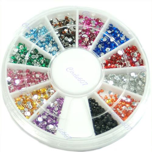Гаджет  12 Color Nail Art Rhinestone Design Decoration Glitter Tips Wheel Glue Acrylic None Красота и здоровье