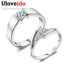 49% off Fashion Crystal Silver Couple Rings for Men and Women Wedding Engagement Lovers Ring CZ Diamond Anillos Mujer Anel J045(China (Mainland))