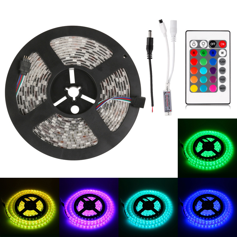 50M LED RGB Strip 5050 Waterproof 60Leds/M SMD Light With 24 Key IR Remote For Home Garden Party Cristmas decoration(China (Mainland))