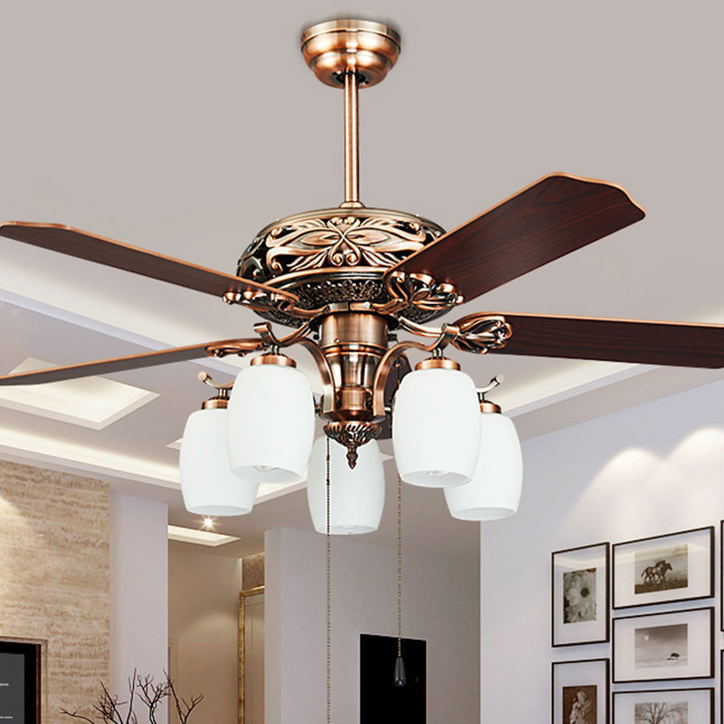 Fashion vintage ceiling fan lights european style fan for Bedroom ceiling fans