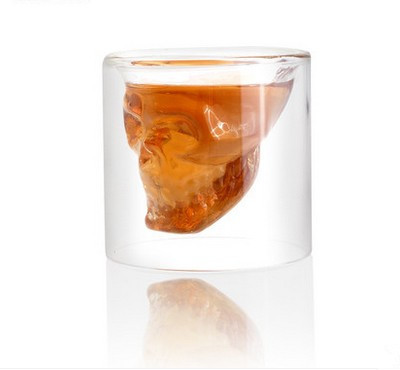 Pirates cup Double Doomed Crystal Skull Shot Glass Crystal Skull Head Vodka Shot Wine Glass Novelty Cup 74ML(China (Mainland))