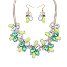 2016 Real Sapphire Jewelry Sale Direct Selling Necklace/earrings Women Crystal Party Jewelry Sets Set Se117 Sweet Fresh Fashion