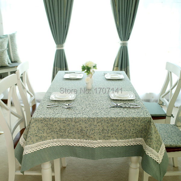 100% Cotton Linen Rustic Table Cloth Green Color Lattice And Leaves Rectangle Dining Hotel Table Covers Kitchen Tablecloths(China (Mainland))