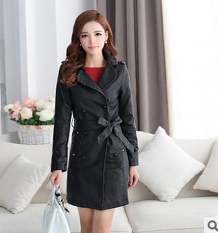 2015 New Leather Coat Women Long Slim Turn-down Collar Sashes High-grade Imitation sheepskin Elegant PU Coat Winter AA8460(China (Mainland))