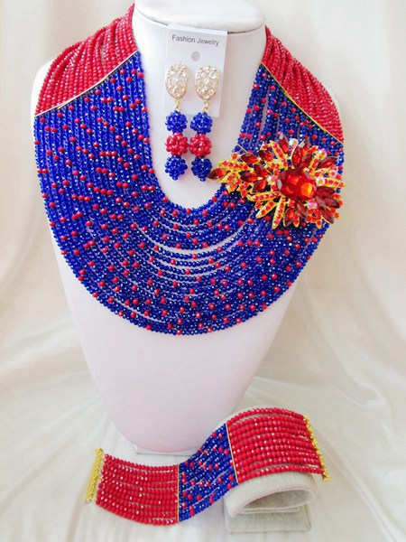 New Arrived! Opaque Red Royal Blue Crystal Nigerian Traditional Wedding African beads jewelry set Free shipping NAF132<br><br>Aliexpress