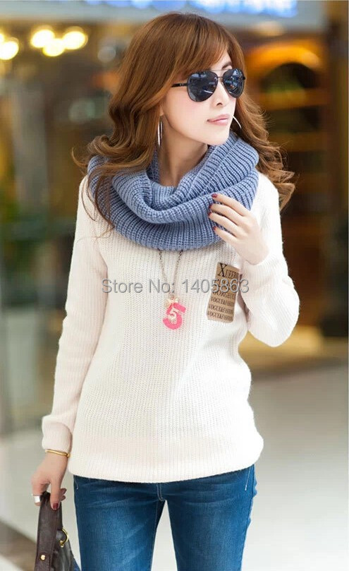 Fashion Fall Winter 2014 Female Coat Round Collar Loose Thickening Render Sweaters Leisure Warm Sweater - new rose store