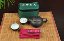 7 pcs Travel Ceramic Teapot Set With Green Gift Bag+1 Teapot+2 Cups+10g Black Tea+1 Towel +1 Tea Clip Tool  Kung Fu Teapot