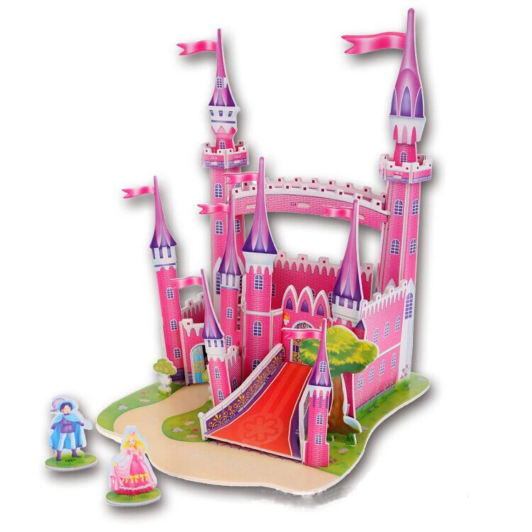 Hot New Arrival Cute Educational 3D Model Pink Castle Foam Puzzle Jigsaw Children Kids baby Toy Great Gift for boys and girls(China (Mainland))