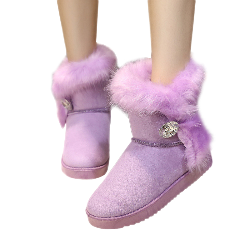 2015 Hot Sale Winter Boots Women Warm Snow Boots Short Faux Fur Women winter Shoes Flattie  Fashion Thicken Ankle Boots BT50<br><br>Aliexpress