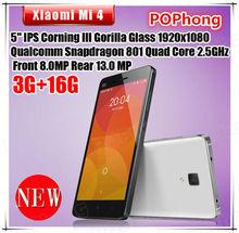 F Original Xiaomi Mi4 M4 Smartphone 4G LTE 5.0 '' 1920*1080P Quad Core 3GB RAM 64GB ROM Android 4.4 13MP(China (Mainland))