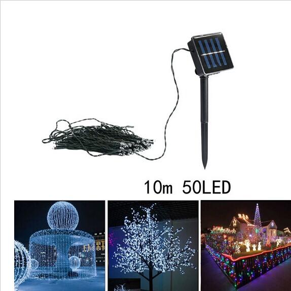 10M 50LED Solar Powered LED String Light Christmas Fairy Luminarias Home Wedding Party Garland Yard Holiday Decoration Lamps(China (Mainland))