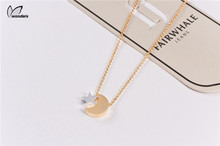 2015 Stainless Steel Jewelry Gold Silver Dainty Crescent Moon and Tiny Star Pendant Necklace for Women