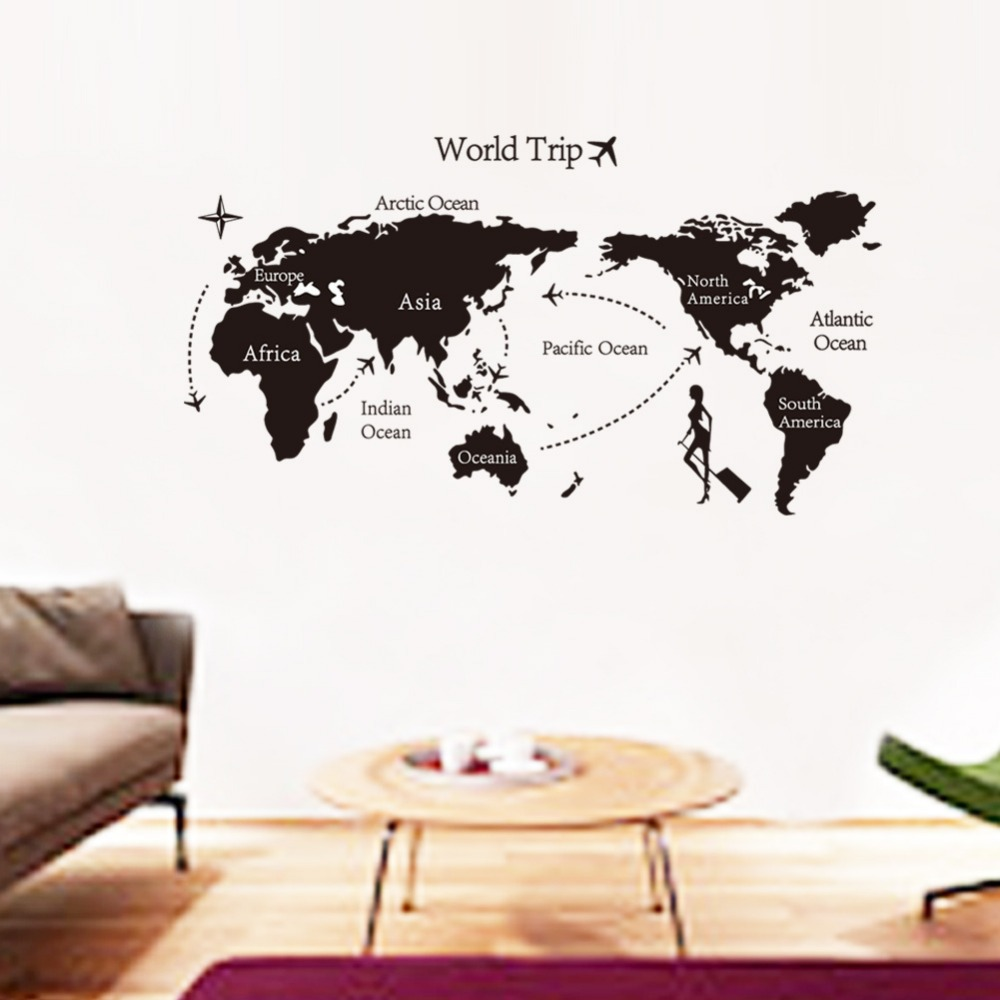 Hot Russia 2015 3D Travel the world map Wall Stickers bedroom setting wall post trade wall Can be customized decoration chambre(China (Mainland))