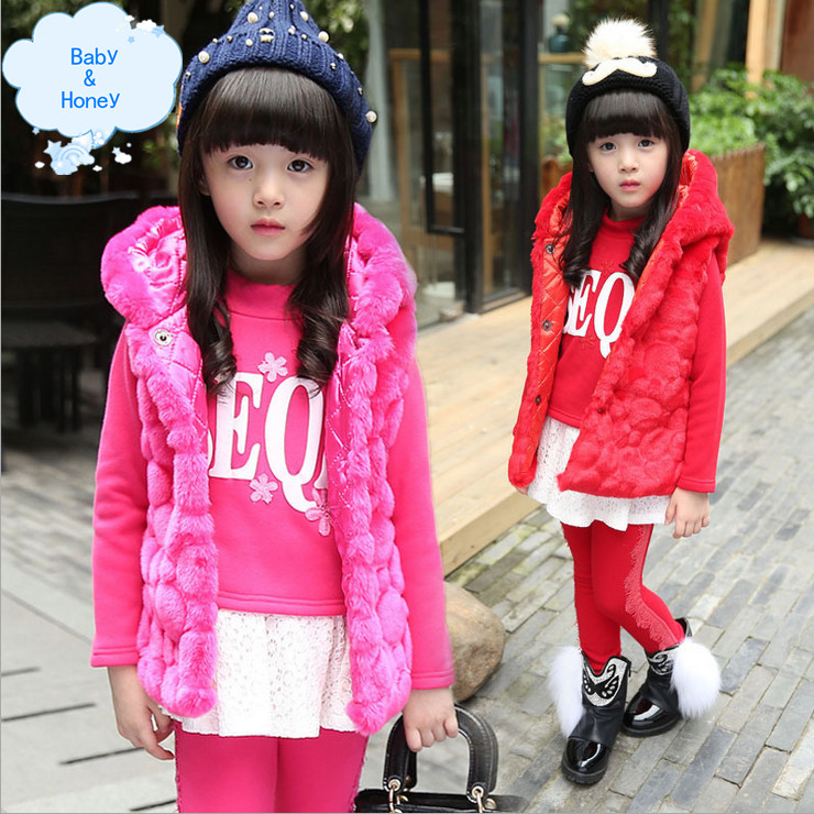 Фотография New 2015 Winter Korean Version Children Clothing Sets Girls Fashion Lovely Warm Plush Three-piece Coat Roupas Para Meninas
