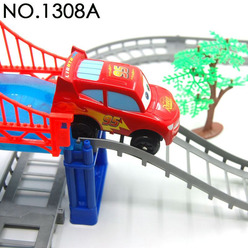 WJA1166 electric rail car puzzle assembled track suits Cars car track model 500g Toy vehicles(China (Mainland))