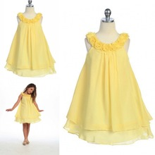 New Design A Line Knee Length Handmade Flower Chiffon Cutely Kids Party Simple Custom Made Girls Flower Girl Dress