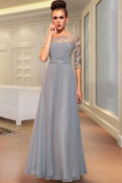 DORISQUEEN30867Free Shipping new arrival crystal floor length A-line embroidery grey color formal half sleeve evening dress2015