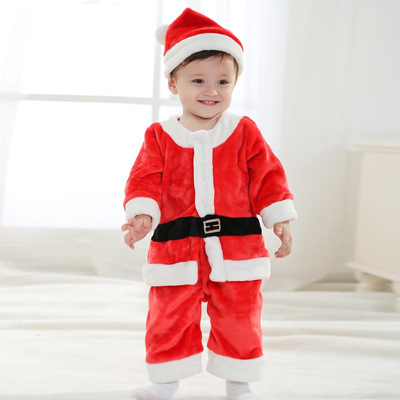 Kids Christmas Santa Claus Costume Xmas Party Dress Long Sleeves romper hat Baby Cute wear # KS0073(China (Mainland))