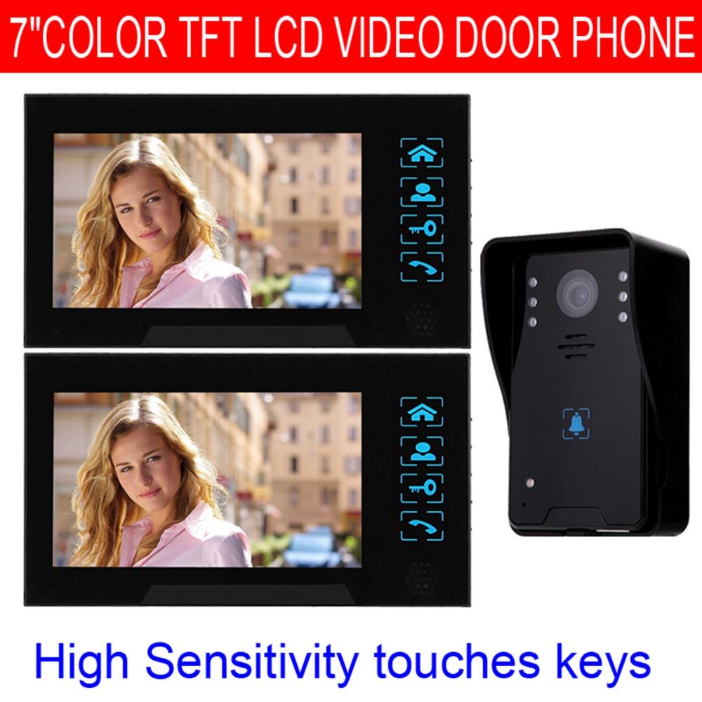 "7"" Door Intercom 1000TVL Video Door Phone with Doorbell Color IR Night Vision Camera Monitor F4345A2(China (Mainland))"