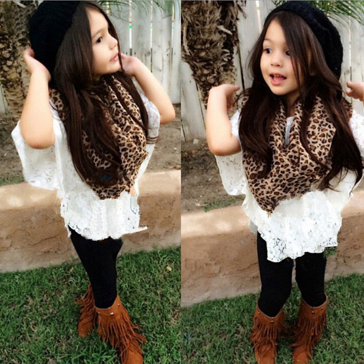 2015 New Arrival Summer Style Baby Girls Clothing Sets Tops Legging Scarf 3pcs White Vest Tee